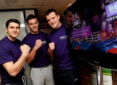 Bernard Brogan, Eoin Cadogan and Michael Murphy try out the Xbox.