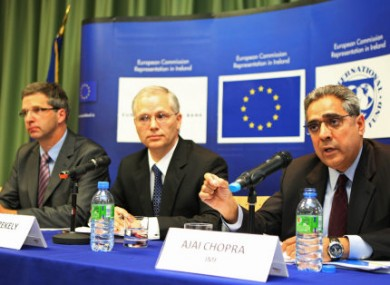 (Left - right) Klaus Masuch from the ECB, Istvan Szekely from the EU Commission and Ajai Chopra from the IMF.