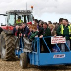 Crowds arrive on a tractor and trailer on the first day of the National Ploughing Championships.