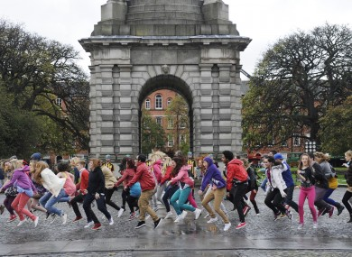 Dancers rehearse for Bollywood filming at TCD today