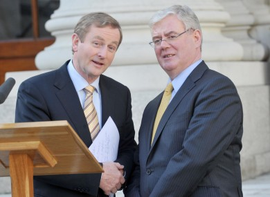 Enda Kenny and Eamon Gilmore launching the progress report this afternoon