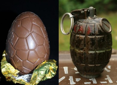 Easter eggs and grenades: not good substitutes.