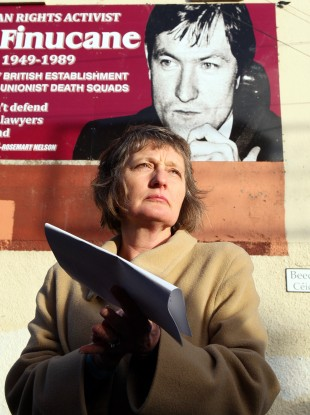 Geraldine Finucane, the wife of Pat Finucane, at the unveiling of a mural in west Belfast on Sunday