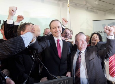 Michael Martin celebrates being elected the new leader of Fianna Fail in 2011.