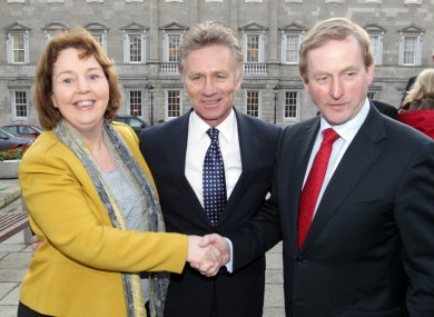 Senator van Turnhout (left) with Seanad colleague Eamonn Coghlan and Taoiseach Enda Kenny last year on the day Coghlan joined Fine Gael.