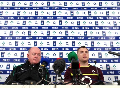 Head coach Declan Kidney and captain Jamie Heaslip at the Aviva Stadium today.