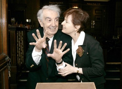 The late Milo O'Shea, with wife Kitty Sullivan, when he had his handprints taken at the Gaiety Theatre in 2007.