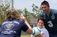 The Irish football team visit Hurricane Sandy victims in New York