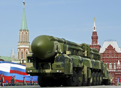 An intercontinental ballistic missile on a truck is seen at Moscow's Red Square during the annual Victory Day parade earlier this year