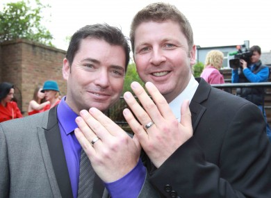 Barry Dignam and Hugh Walsh became the first male couple in Ireland to avail of civil partnerships for same-sex couples.