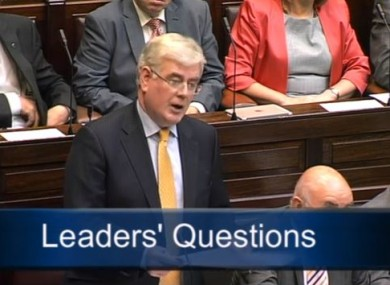 Tánaiste Eamon Gilmore answers questions during Leaders' Questions this morning