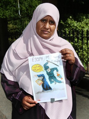 Nosaybe Halawa joins a protest at the Egyptian Embassy in Dublin calling for release of her siblings from custody on 19 August