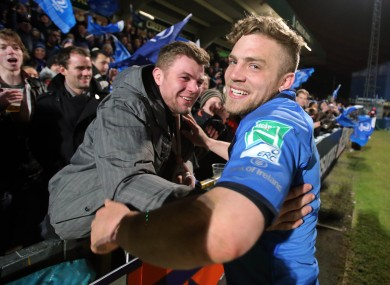 Jordi Murphy celebrates with Ian Madigan after Leinster beat Wasps last season.