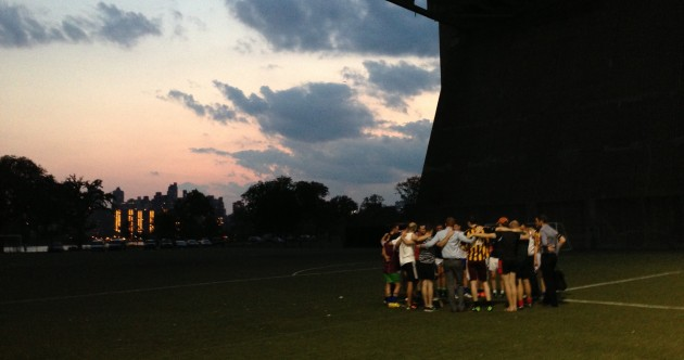 Snapshot: Hoboken hurlers prepare for final as darkness falls on New York City