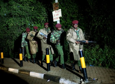 Kenyan Defense Forces leave the near vicinity of the Westgate Mall in Nairobi tonight