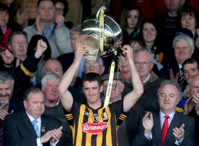 Colin Fennelly lifts the trophy after last May's Division 1 final.
