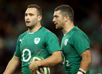 Dave Kearney is congratulated by his brother, Rob, after scoring on his debut.