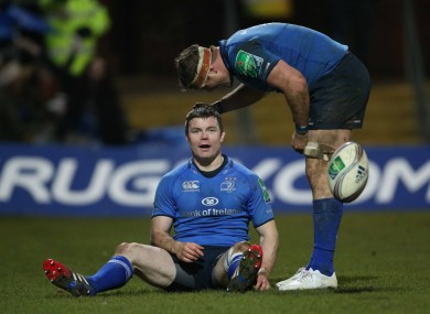 O'Driscoll receives the congratulations of Jamie Heaslip after scoring.