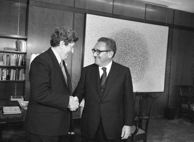 Garret Fitzgerald and Henry Kissinger in 1975 in Washington.