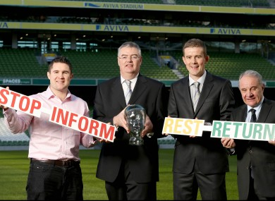 Simon Keogh, IRUPA, Operations/Legal Manager, Dr Rod McLoughlin, IRFU, Dr Garrett Coughlan, IRFU and Pat Fitzgerald, IRFU President .