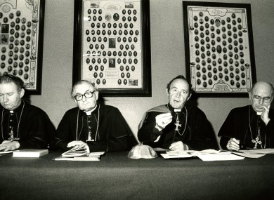 Bishops Donal Murray, Kevin McNamara, Joseph Cassidy and Edward Daly at a press conference after a meeting in Maynooth in 1983.