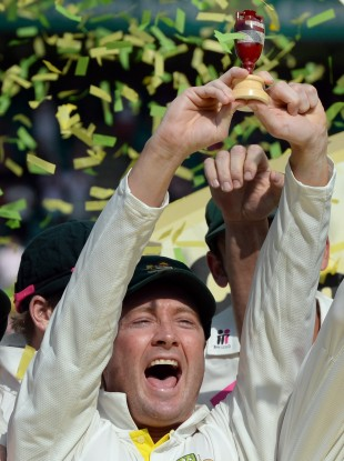 Australia captain Michael Clarke celebrates his team's victory.