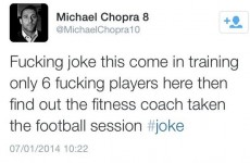 Michael Chopra fined for Twitter rant about training
