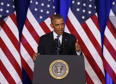 US President Barack Obama speaking in Washington today.