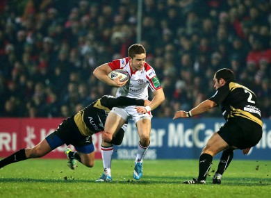 Jackson runs at the Montpellier defence last night at Ravenhill.