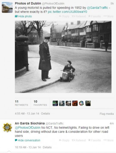 Garda Traffic being gas on Twitter exchange of the day