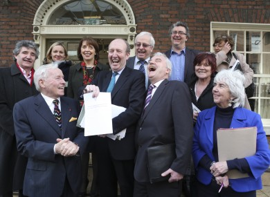 Some of the independent TDs involved in the loose alliance at a press event in Dublin yesterday.
