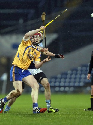 Joe Canning of Portumna with David Breen of Na Piarsaigh.