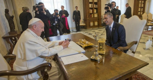 Popular Pope meets increasingly unpopular US President