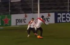 Robin van Persie makes a show of Michel Vorm with a ridiculous nutmeg