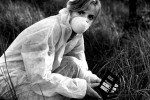 Adi Roche measuring radiation in Chernobyl.
