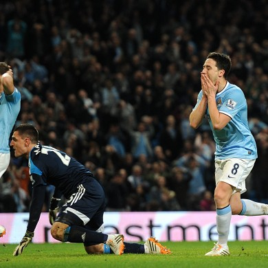 Samir nasri reacts to a missed chance against the Black Cats.