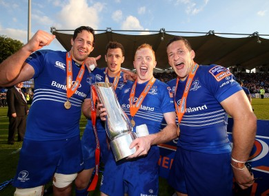 Mike McCarthy, Zane Kirchner, Darragh Fanning and Jimmy Gopperth celebrate Leinster's win.
